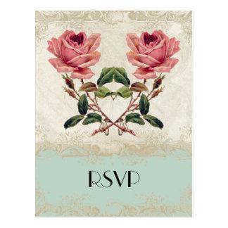 Baroque Style Vintage Rose Mint n Cream Lace Postcard