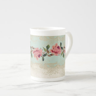 Baroque Style Vintage Rose Mint n Cream Lace Tea Cup