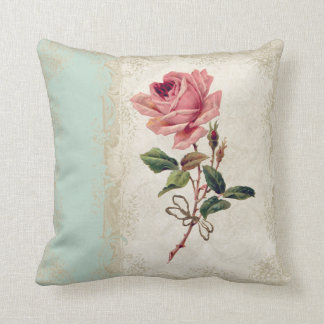 Baroque Style Vintage Rose Mint n Cream Lace Throw Pillow