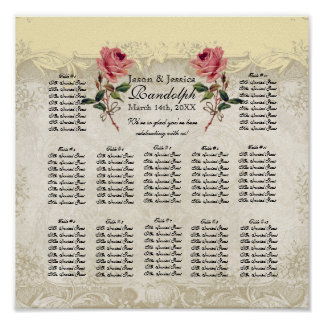 Baroque Style Vintage Rose Reception Seating Chart Poster