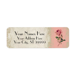 Baroque Style Vintage Rose Salmon n Cream Lace Custom Return Address Label