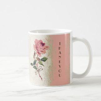 Baroque Style Vintage Rose Salmon n Cream Lace Classic White Coffee Mug