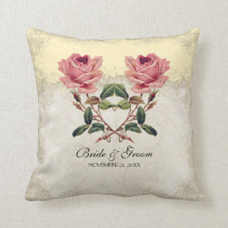 Baroque Style Vintage Rose Yellow n Cream Lace Throw Pillow