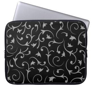 Baroque Swirls – Black & Grey Computer Sleeve