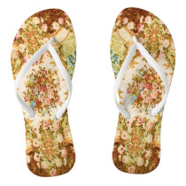 Baroque tapestry pattern flip flops