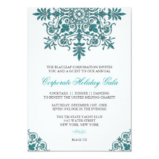 Baroque Turquoise Glitter Look Holiday Party Card