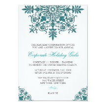 Baroque Turquoise Glitter Look Holiday Party Personalized Invitation