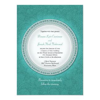 Baroque Turquoise Plaque Wedding Invitation