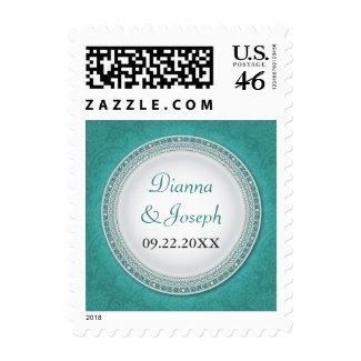Baroque Turquoise Plaque Wedding Postage stamp