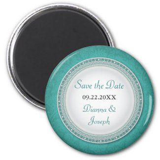 Baroque Turquoise Plaque Wedding Save the Date Mag magnet