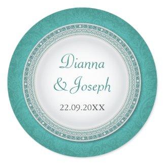 Baroque Turquoise Plaque Wedding Sticker sticker