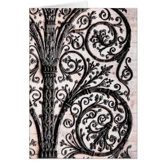 Baroque Vintage Architectural Decorative Ironwork Card