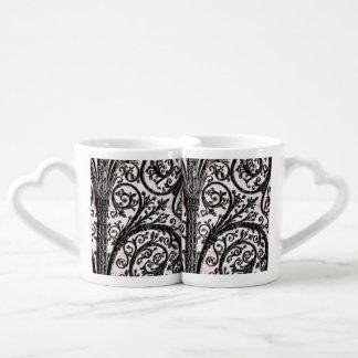 Baroque Vintage Architectural Decorative Ironwork Lovers Mug Sets