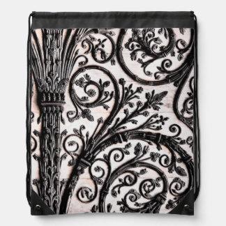Baroque Vintage Architectural Decorative Ironwork Drawstring Bag