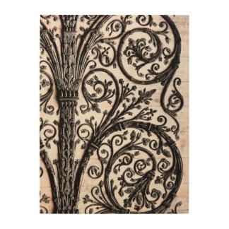 Baroque Vintage Architectural Decorative Ironwork Wood Print