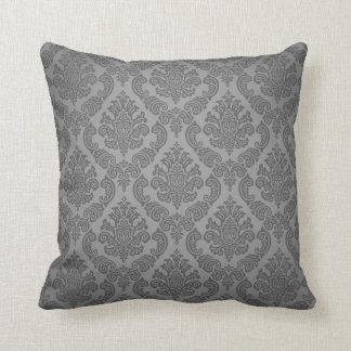 Baroque Vintage Damask   grey steel Throw Pillow