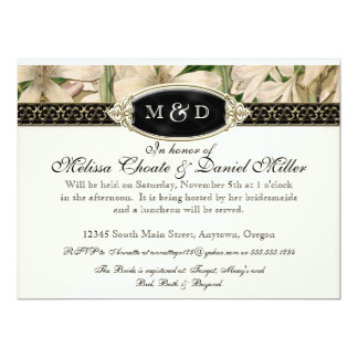 """Baroque Vintage Lily Gold Formal Couples Shower 6.5"""" X 8.75"""" Invitation Card"""
