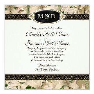Baroque Vintage Lily Gold Formal Elegant Wedding Card