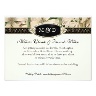 Baroque Vintage Lily Gold Formal Save the Date Card