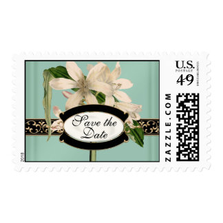 Baroque Vintage Lily Gold Formal Save the Date Stamp