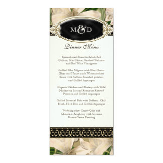Baroque Vintage Lily Gold Formal Wedding Menu Card