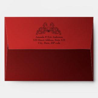 Baroque Vintage Ornaments Red Black envelope