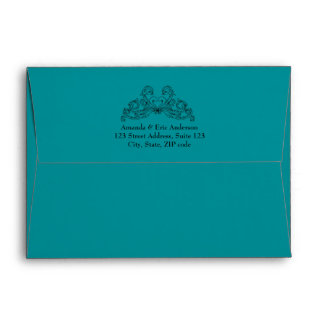 Baroque Vintage Ornaments Teal Black envelope