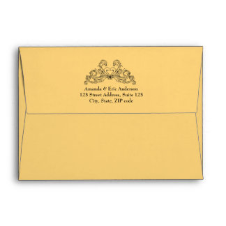 Baroque Vintage Ornaments Yellow Black envelope