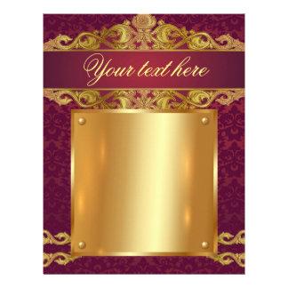 Baroque,vintage,red,gold,damask,template,monogram Letterhead