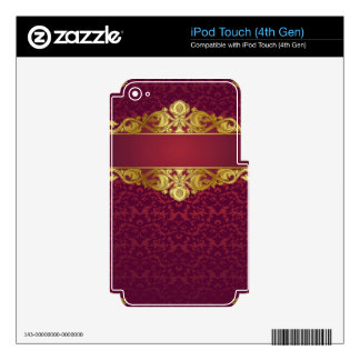Baroque,vintage,red,gold,damask,template,monogram Skin For iPod Touch 4G