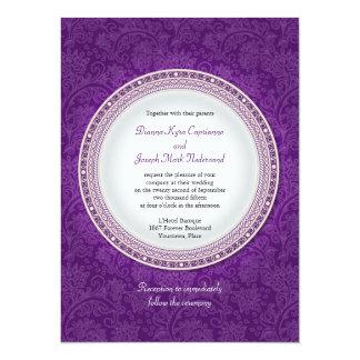 Baroque Violet Plaque Wedding Invitation