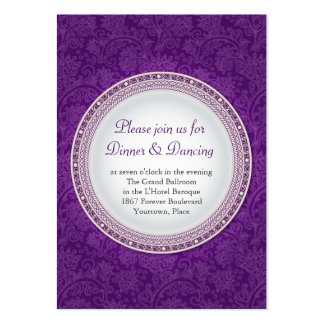 Baroque Violet Plaque Wedding Reception Card Large Business Cards (Pack Of 100)