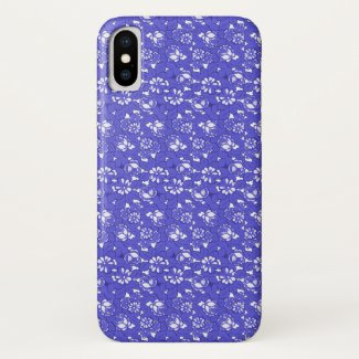 Baroque wallpaper - blue Flower Pattern iPhone X Case