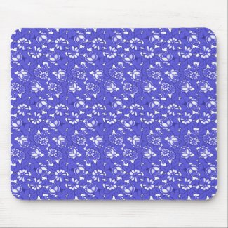 Baroque wallpaper - blue Flower Pattern Mouse Pad