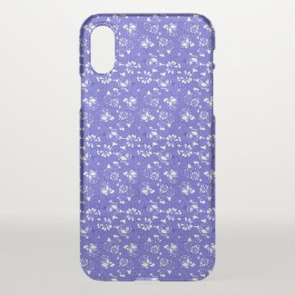 Baroque wallpaper - blue Flower Pattern iPhone X Case