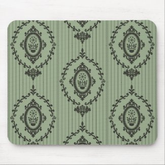 Baroque Wallpaper in Green Mouse Pad