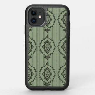 Baroque Wallpaper in Green OtterBox Symmetry iPhone 11 Case
