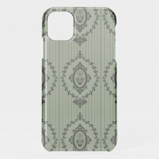 Baroque Wallpaper in Green iPhone 11 Case