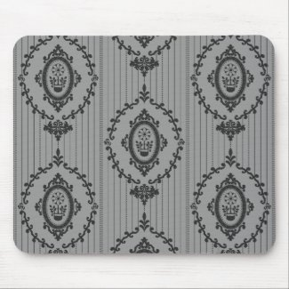 Baroque Wallpaper in Grey Mouse Pad