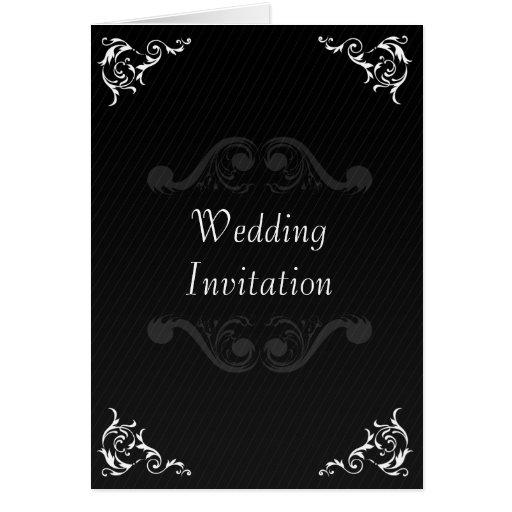 Baroque Wedding Invite Black & White Greeting Card