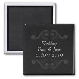 Baroque Wedding Invite Black & White Fridge Magnets
