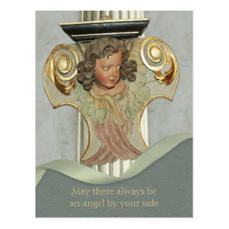 Baroque wood angel CC0340 Blessing words Postcard