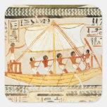 Barqueros en el Nilo, de la tumba de Sennefe Pegatina Cuadrada