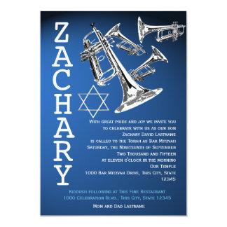 """Barra azul marino Mitzvah de la música de las Invitación 5"""" X 7"""""""