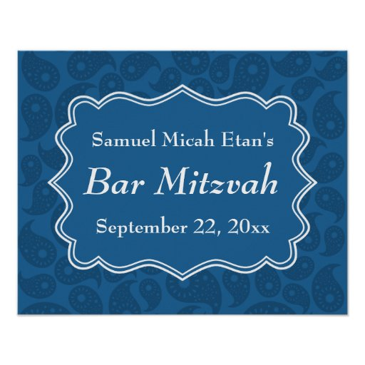 Barra azul marino Mitzvah del modelo de Paisley Poster