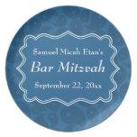 Barra azul marino Mitzvah del modelo de Paisley Plato