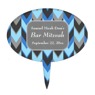 Barra azul y gris Mitzvah del modelo de Chevron Palillos De Tarta