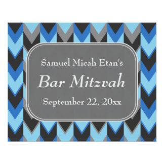 Barra azul y gris Mitzvah del modelo de Chevron Perfect Poster