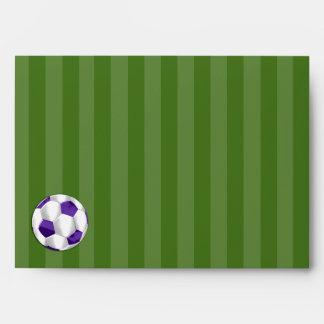 Barra balón púrpura y blanco de Mitzvah de fútbol Sobres