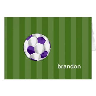 Barra balón púrpura y negro de Mitzvah de fútbol Tarjeta Pequeña